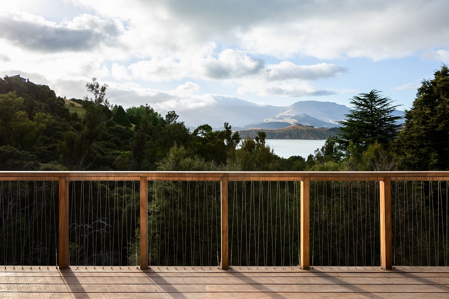 Look outside at the Lyttelton Harbour from the deck of the house