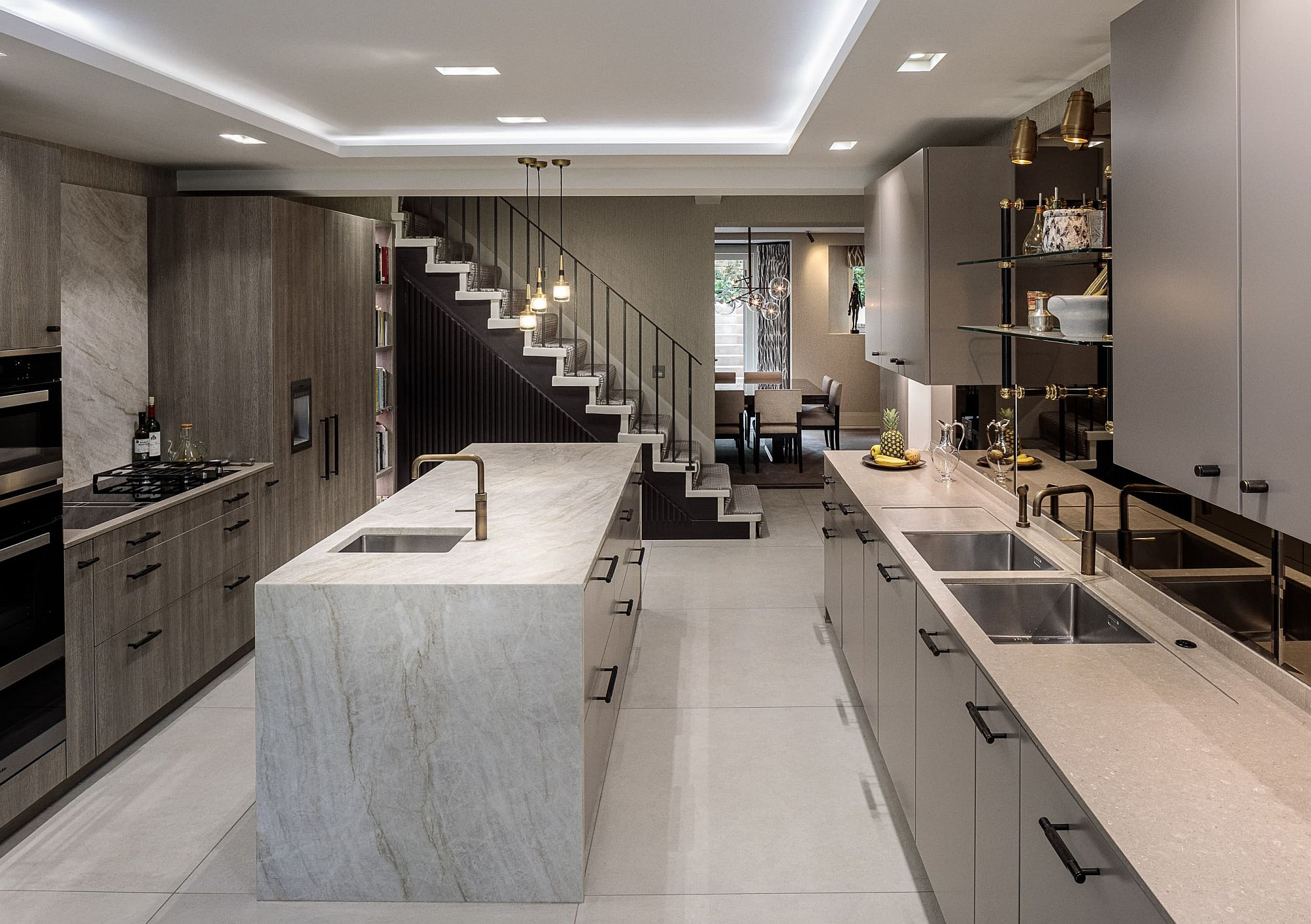 Lovely lighting foe the modern kitchen in white and gray