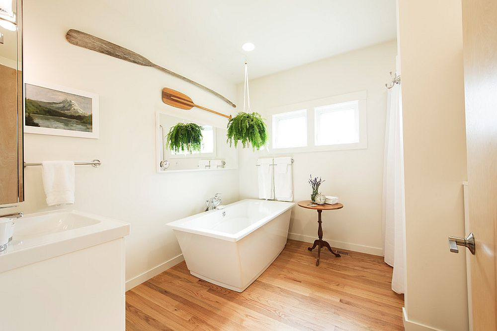 Making most of space in the small contemporary bathroom with wooden floor