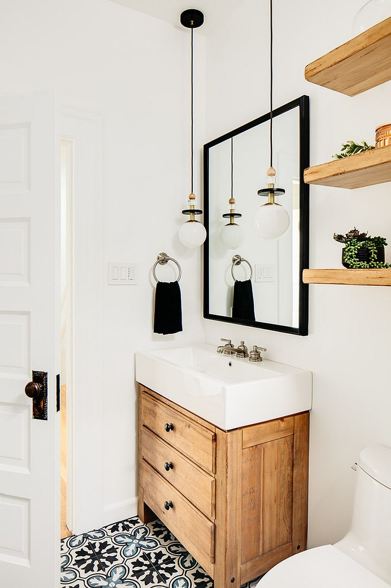 Making use of corner space in the small powder room