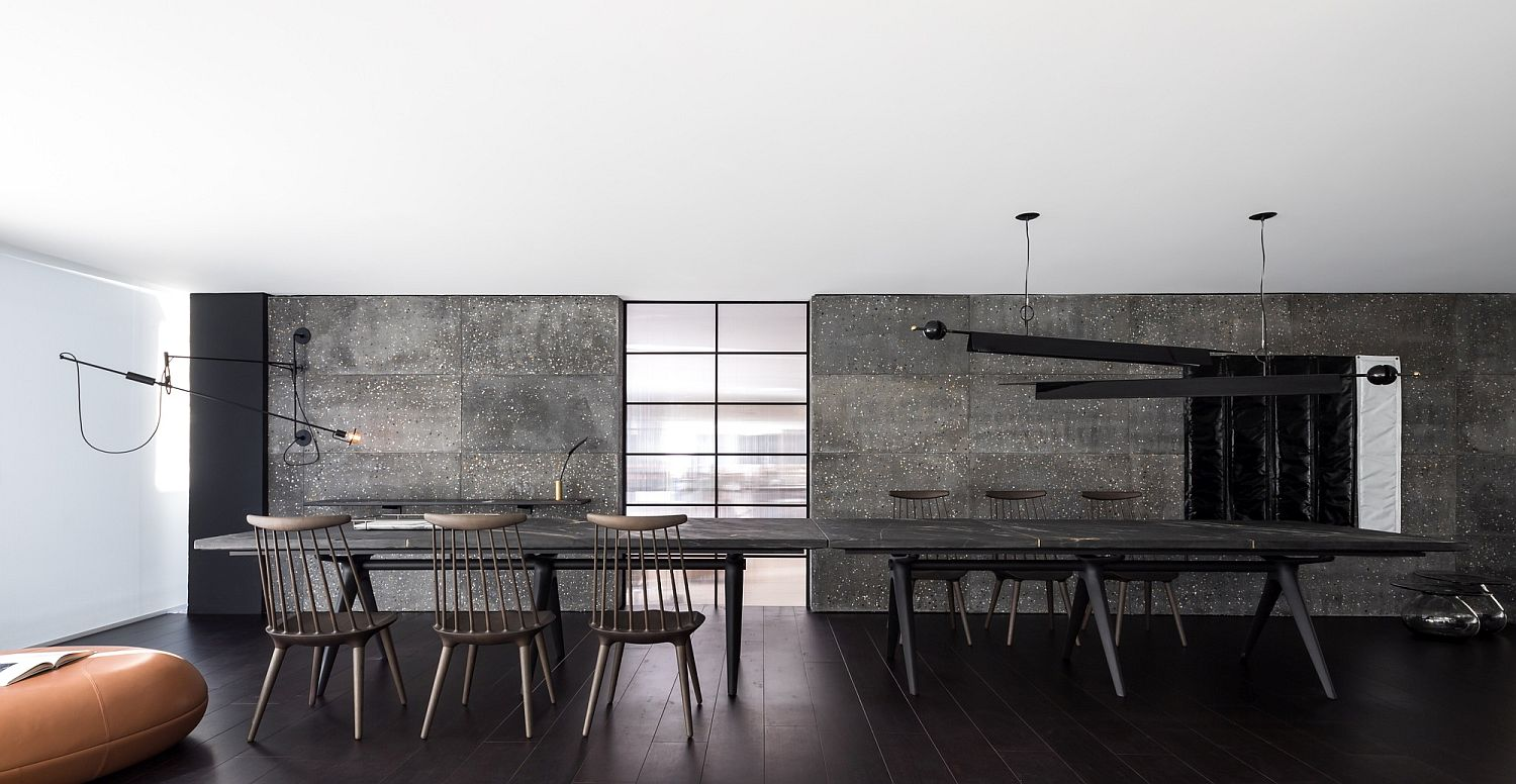 Minimal and exquisite dining space in black and white