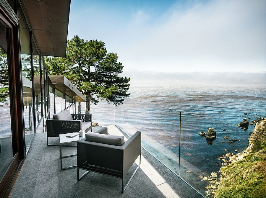 Modern balcony of Californian home with cool Ocean views