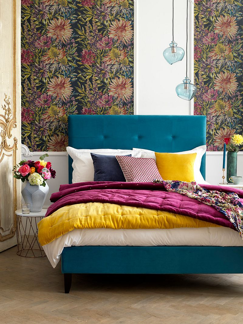 Modern eclectic bedroom full of color