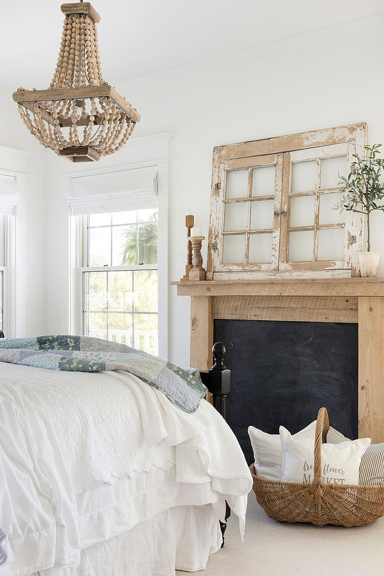 Modern farmhouse bedroom in wood and white