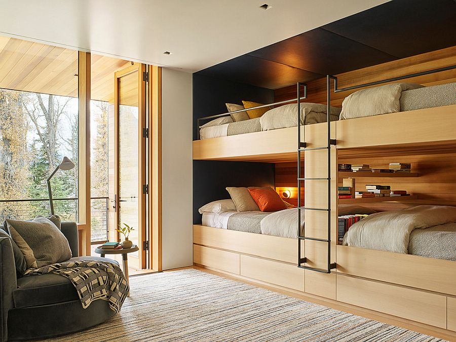 Modern industrial kids' room with wonderful bunk beds that make most of available space