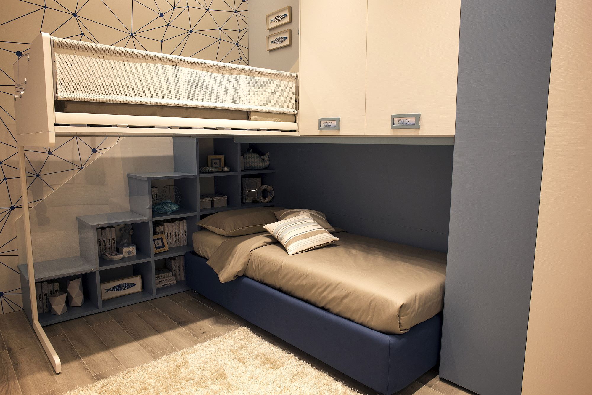 New design for kids' bedroom with corner bunkbed and storage above