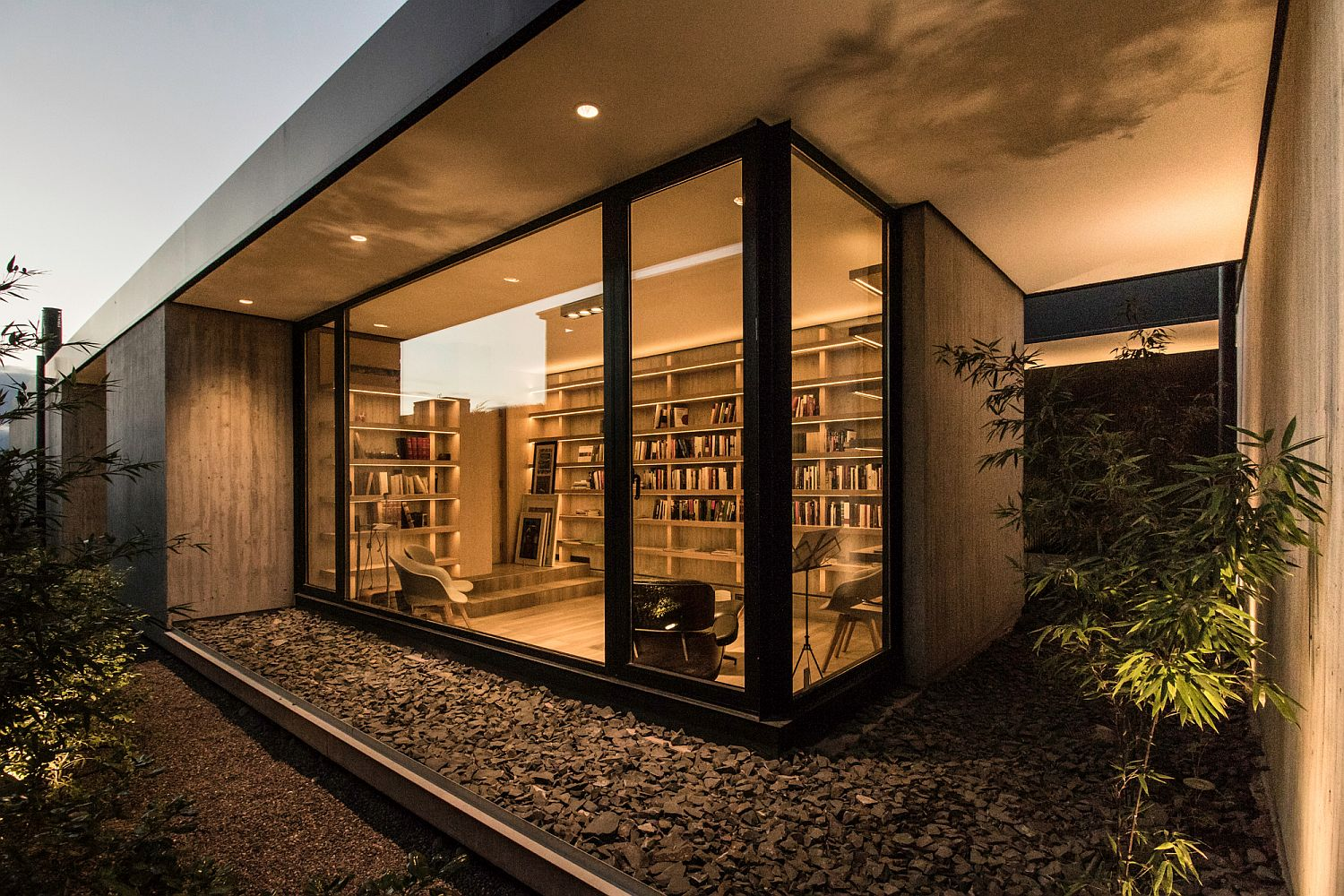 Reading room in the corner and home office opens up towards the outdoors