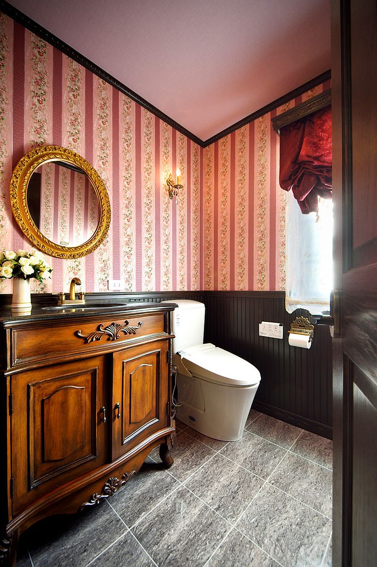 Shabby chic style powder room with pink charm