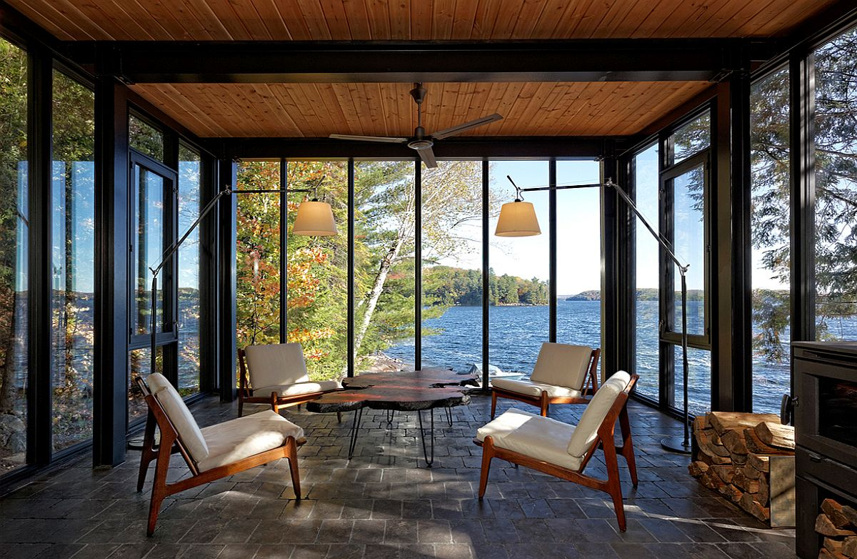 Sitting area of the Lakehouse overlooking lovely scenery