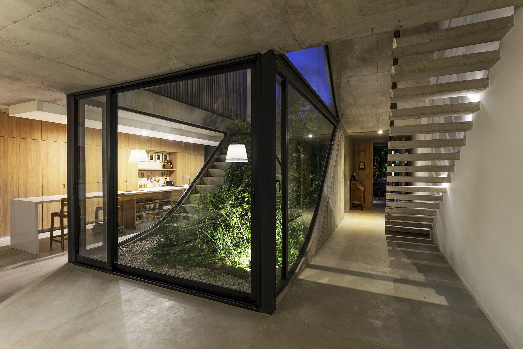 Sloped gardens also become a part of the visual indoors