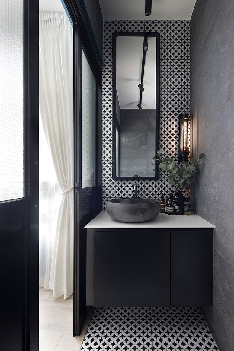 Small Scandinavian style powder room in gray and white