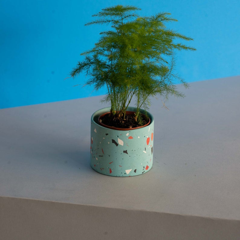 Small terrazzo planter from Etsy shop Speckl Goods