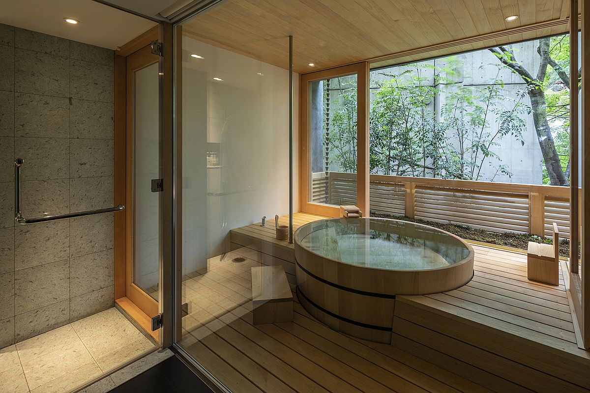 Spa space and bathroom of the minimal Japanese home
