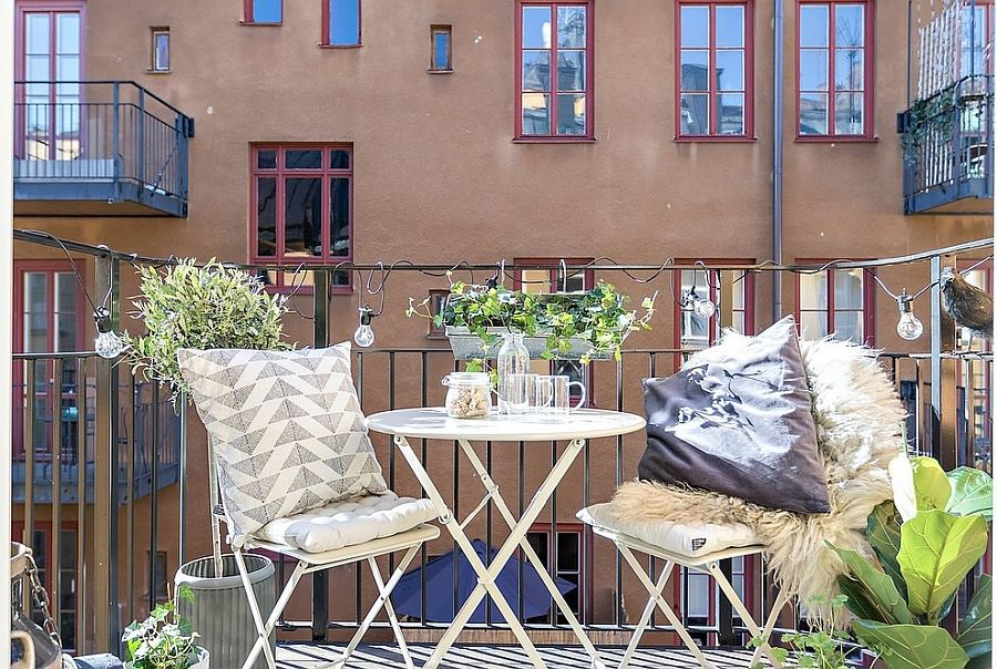 Space-savvy modern garden furniture is perfect for the tiny urban balcony