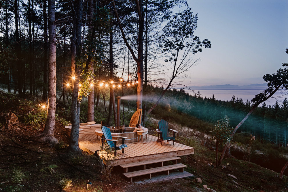 String lights for the cabin deck that also has a hot tub and provides fabulous views