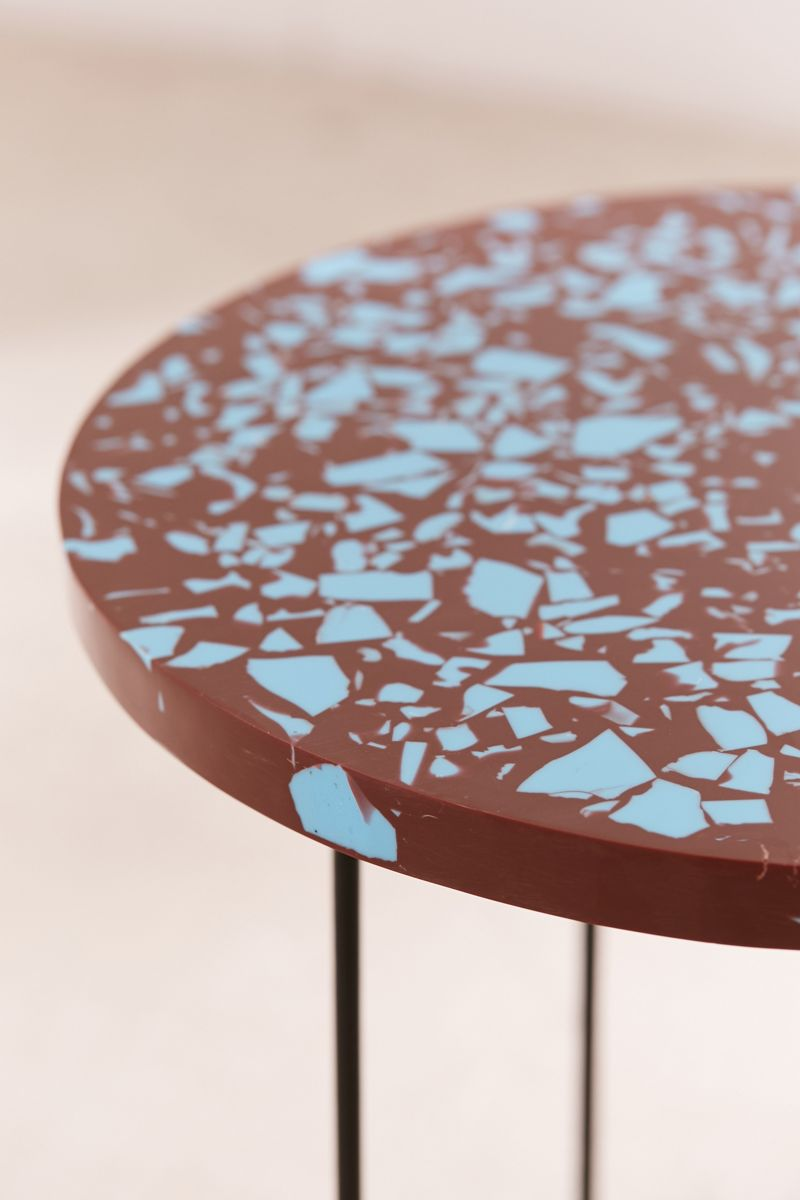 Terrazzo table with blue details