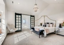 Thin-metal-frame-bed-with-golden-finish-for-the-farmhouse-style-bedroom-in-white-217x155