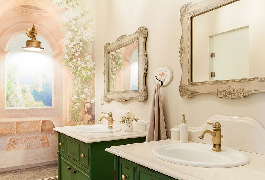 Twin vanities in dark green for the brilliant shabby chic powder room