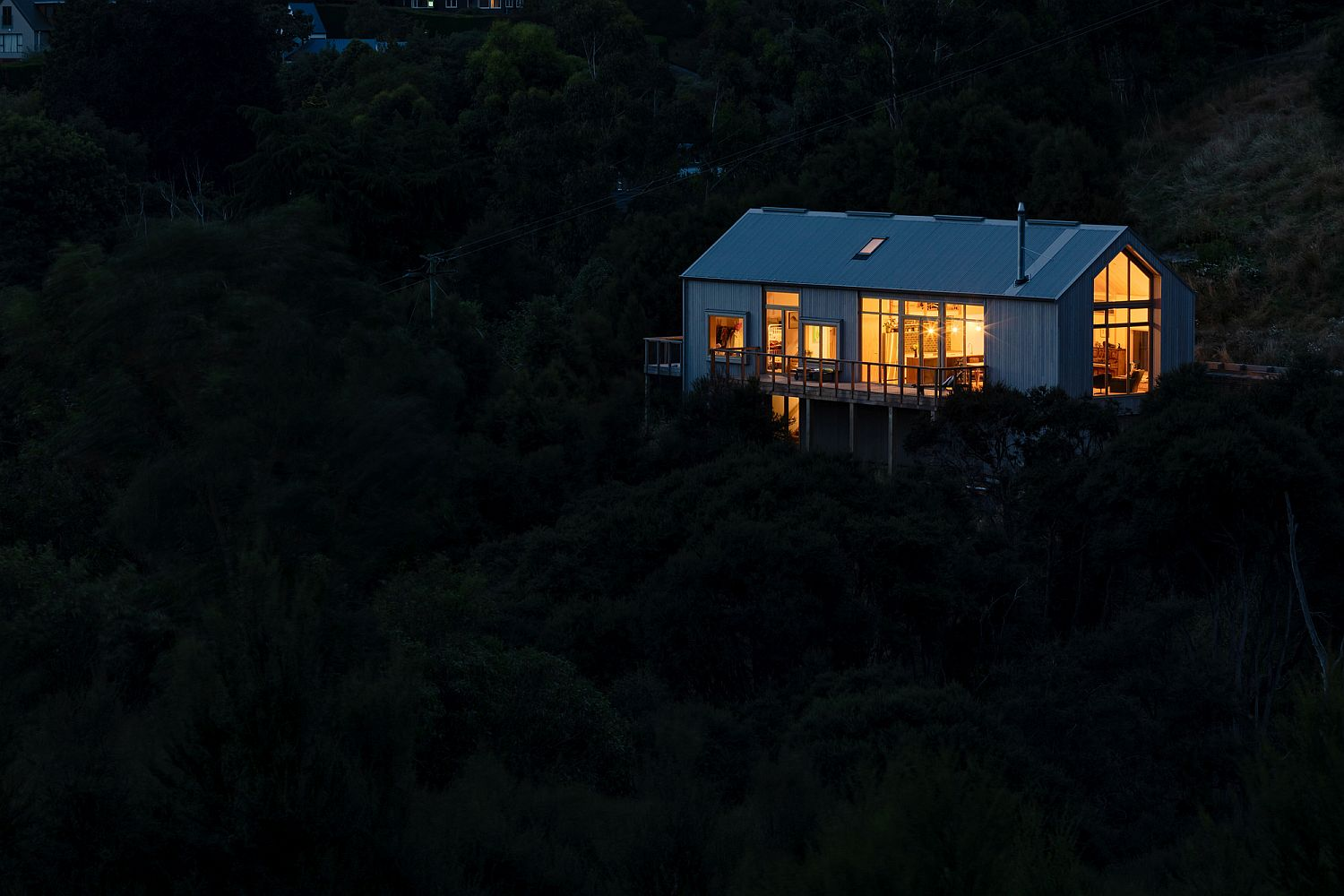 View of the Governors Bay House in New Zealand after sunset