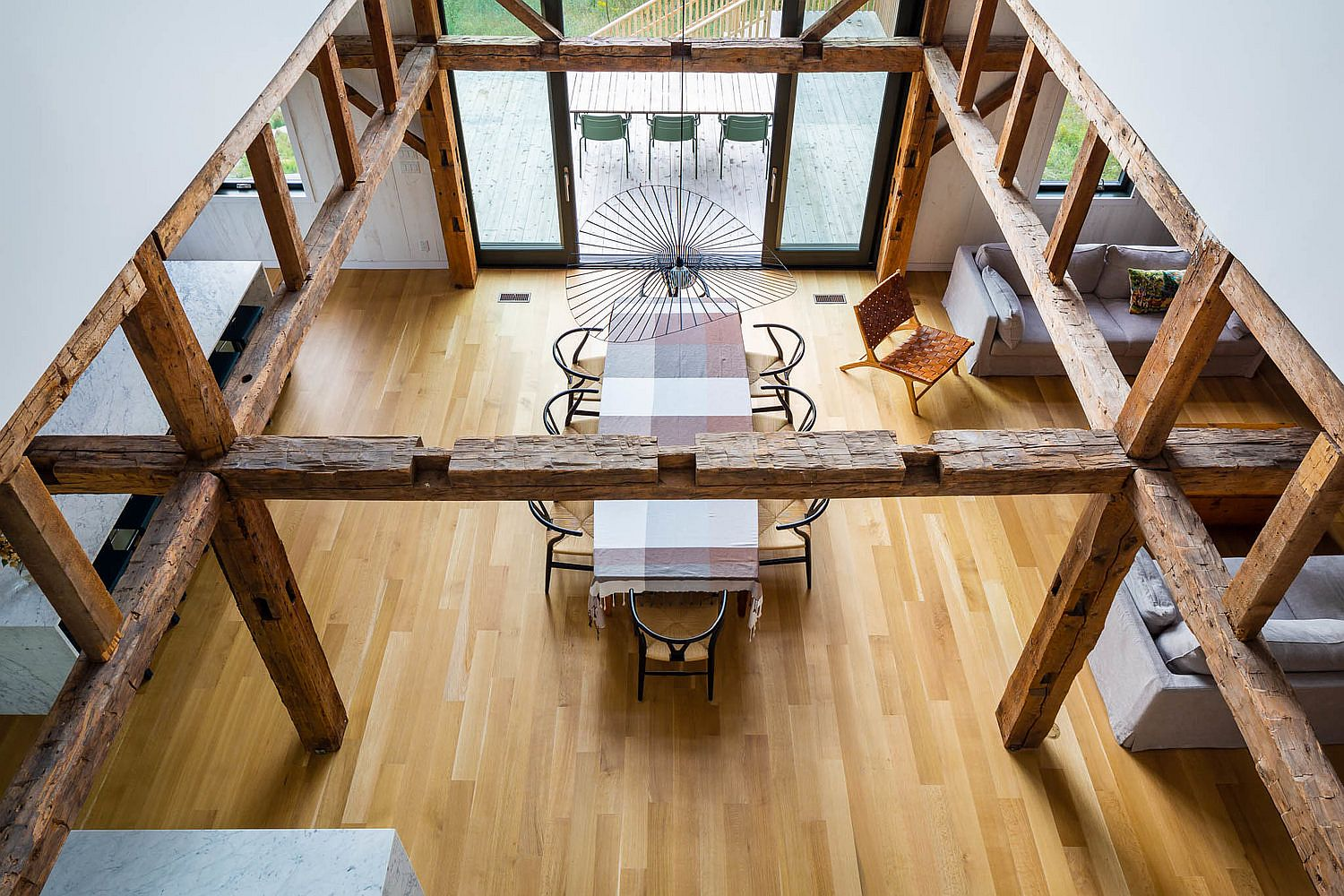 View of the dining area and the living space from above
