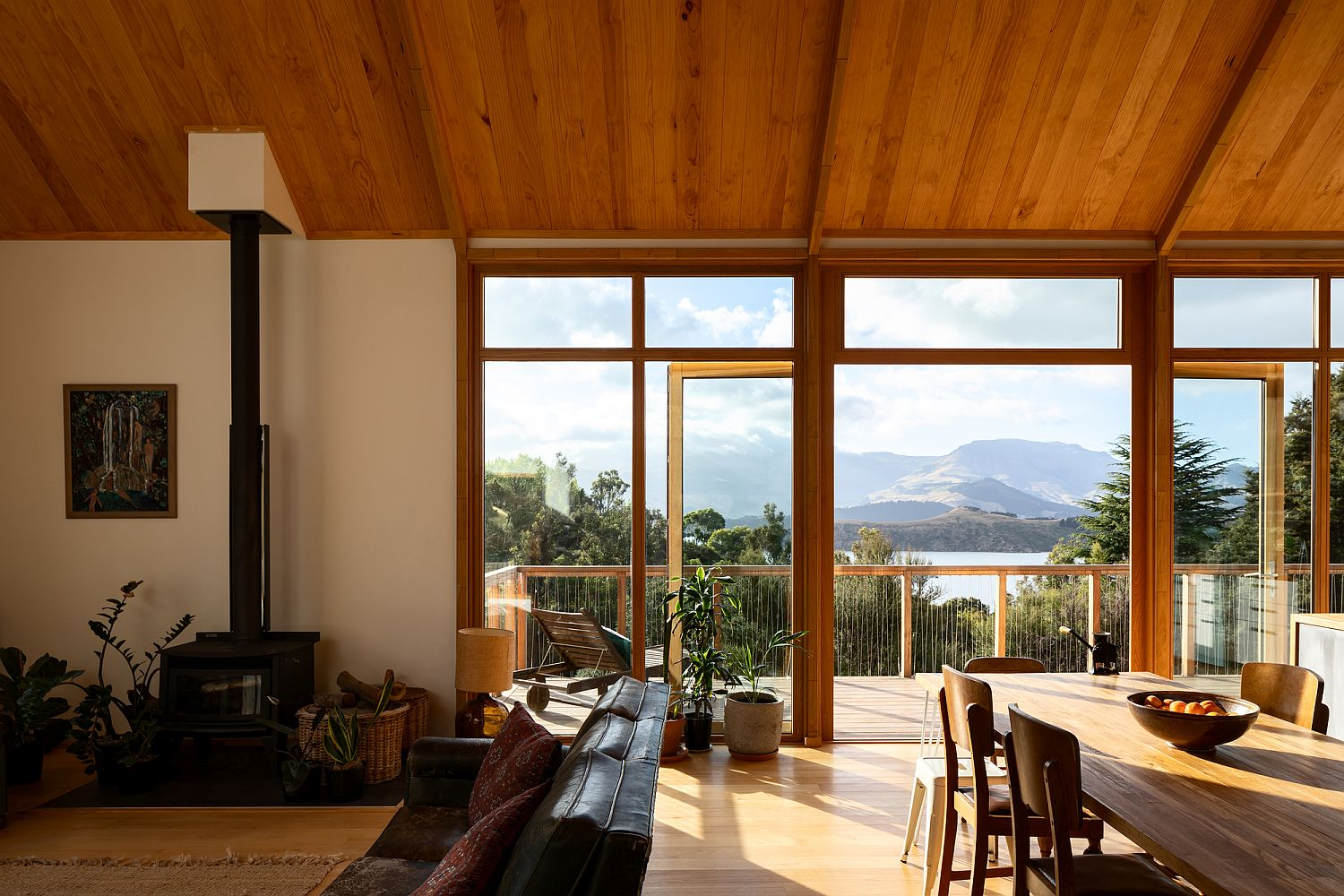 View of the picturesque Lyttelton Harbour from the living area of the house