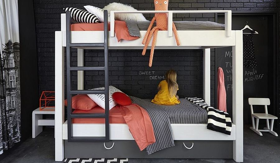 White bunk bed for the dark contemporary kids' bedroom