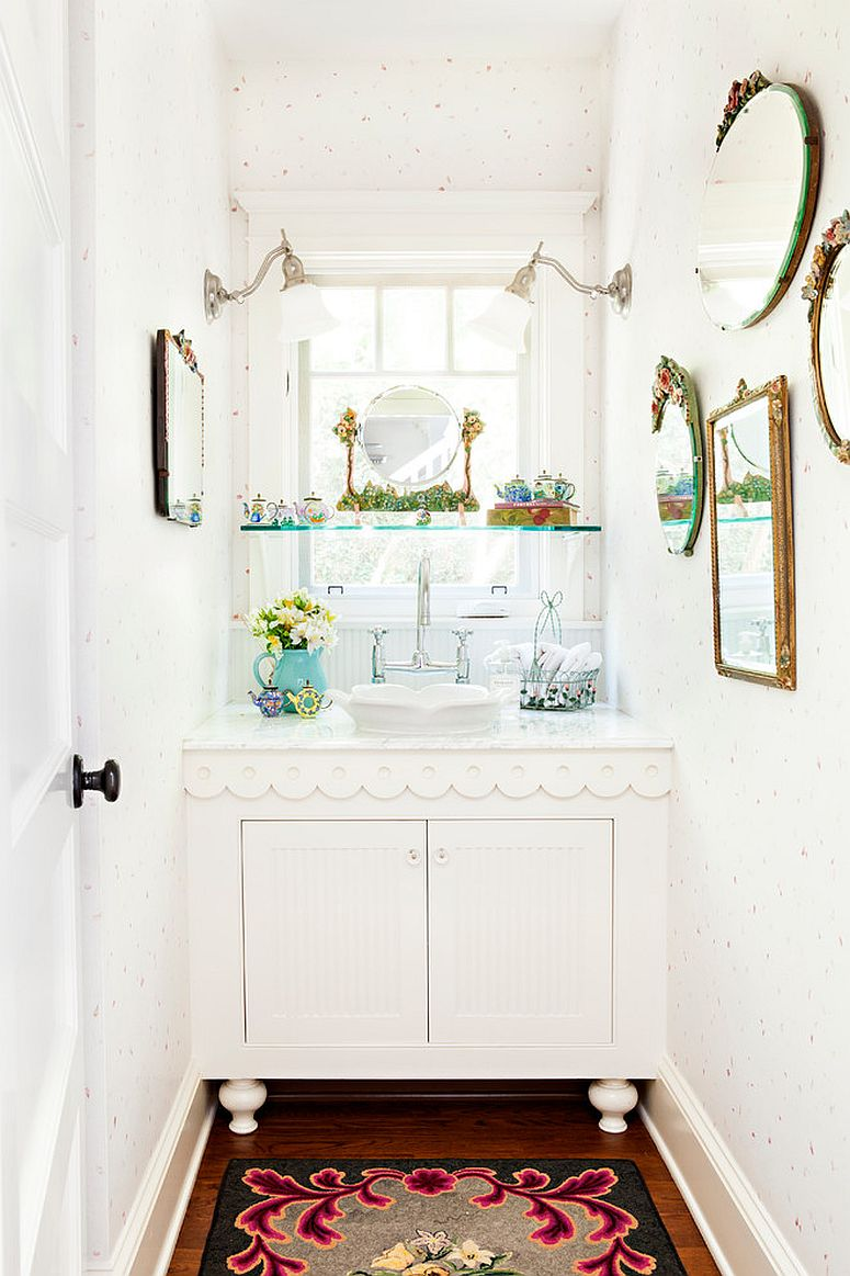 White is the perfect color for the small shabby chic powder room