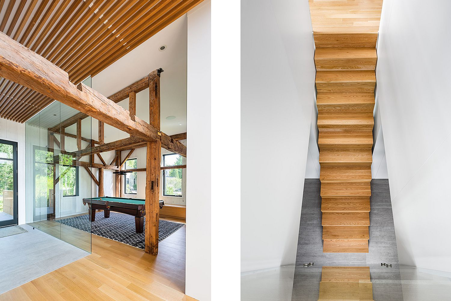 Wooden beams and staircase give the interior warmth and style