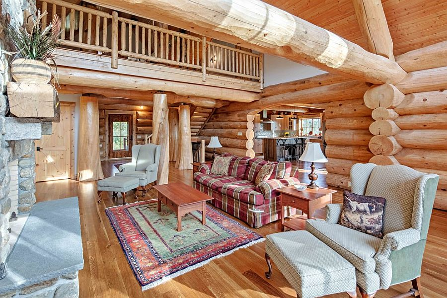 Wooden logs create a beautiful living room with ample natural light