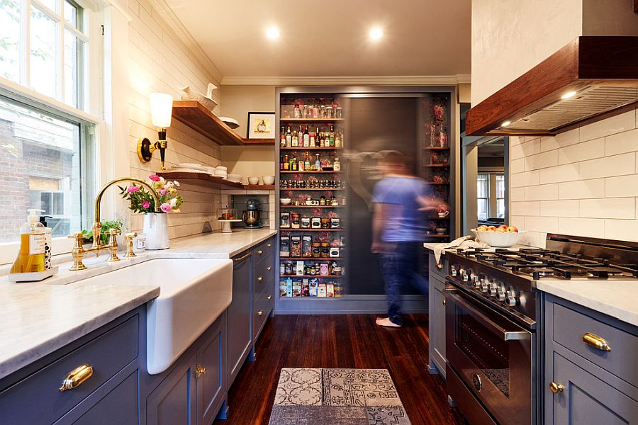 An even layer of recessed lighting is perfect for the small kitchen