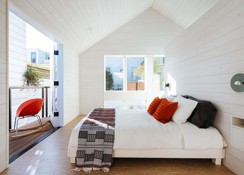 Bedroom in white on the upper level