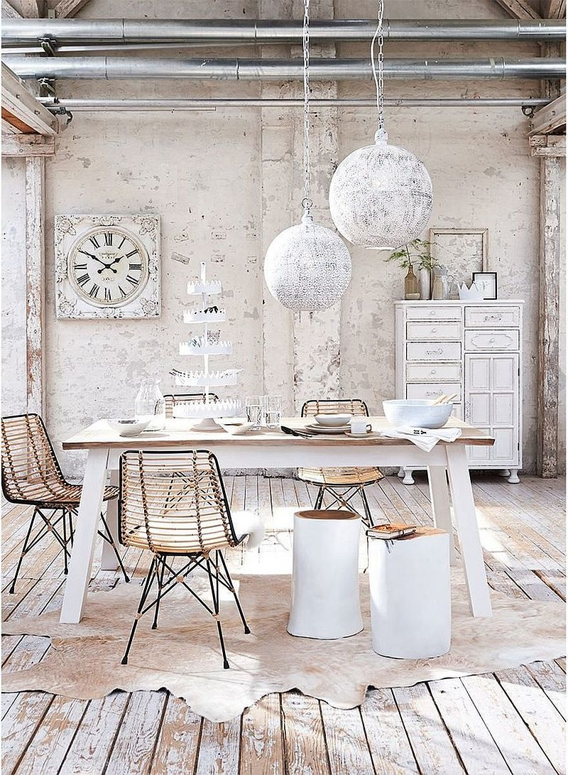 Blend of modern, shabby chic and coastal touches in the dining space