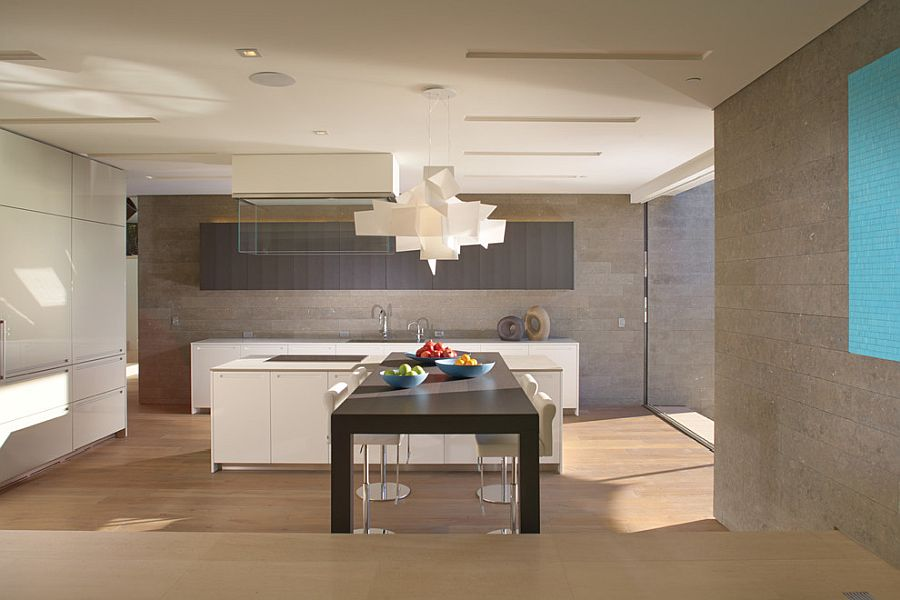 Contemporary-minimal-kitchen-with-dark-dining-table