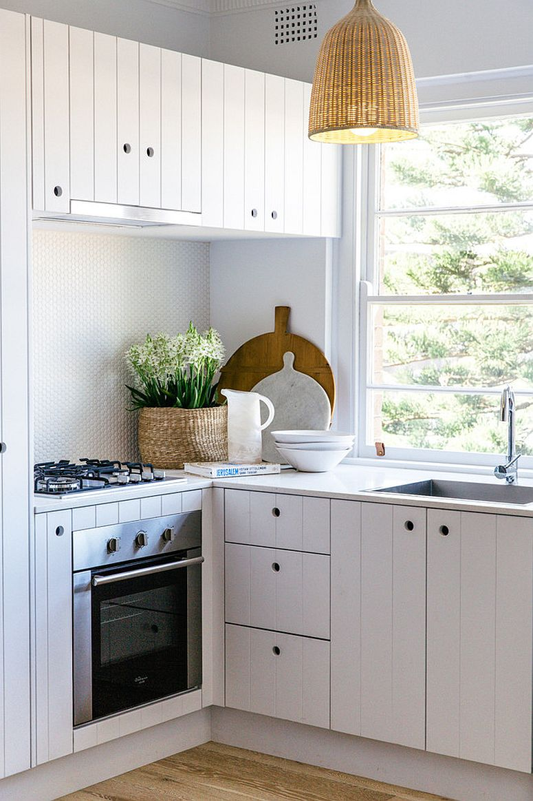 Dashing pendant light for small white kitchen