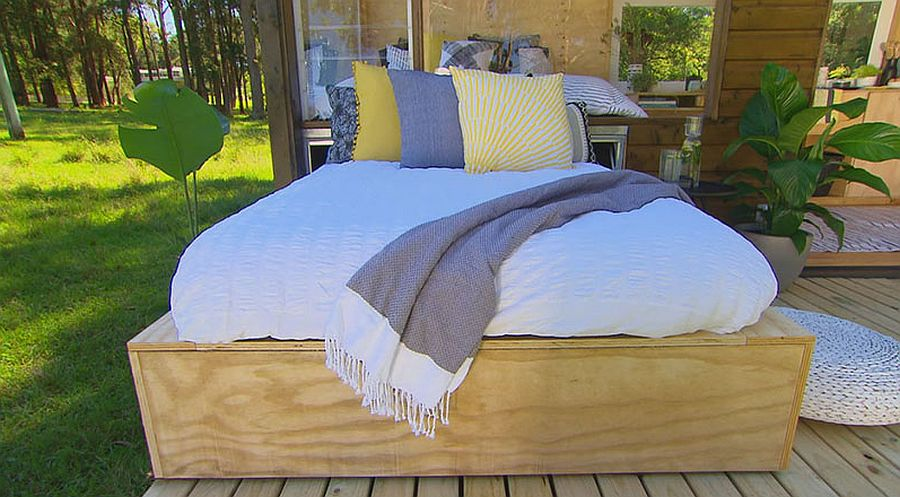 Daybed on the deck with storage space below