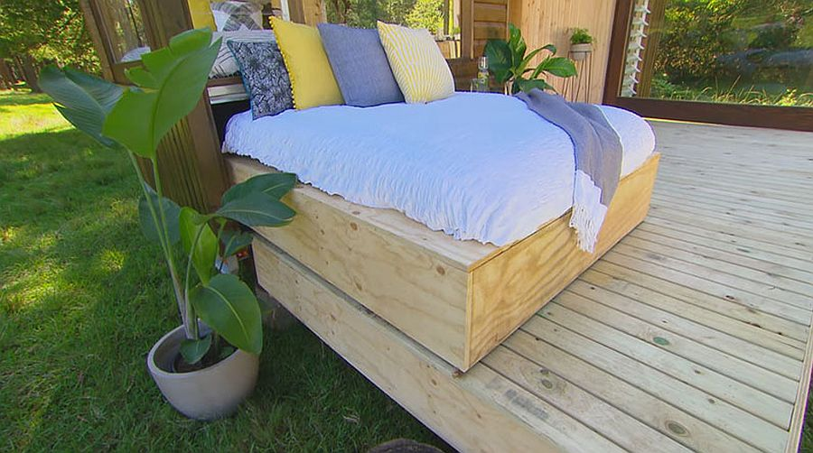 Daybed rolls out on to the deck to provide a lovely outdoor relaxation zone