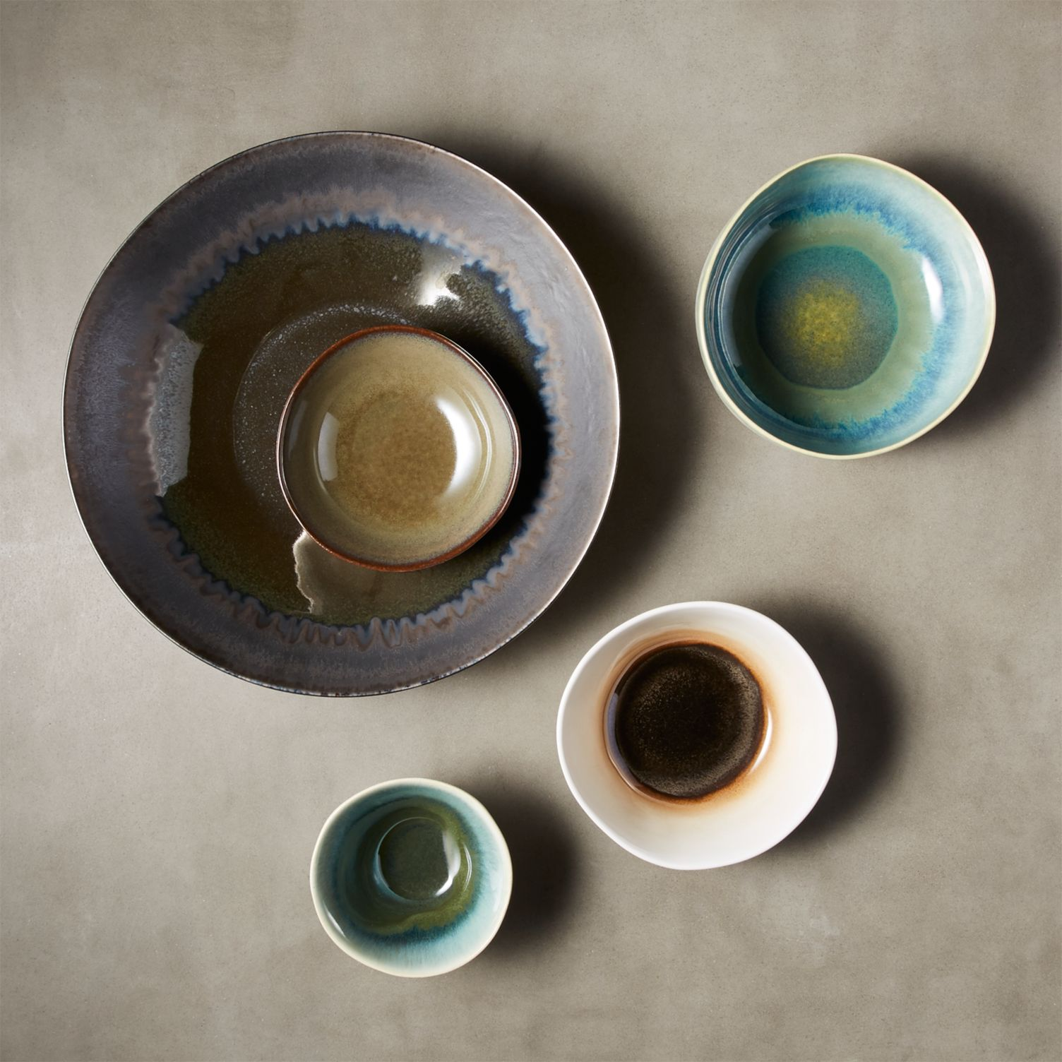 Glazed serving bowls in various sizes