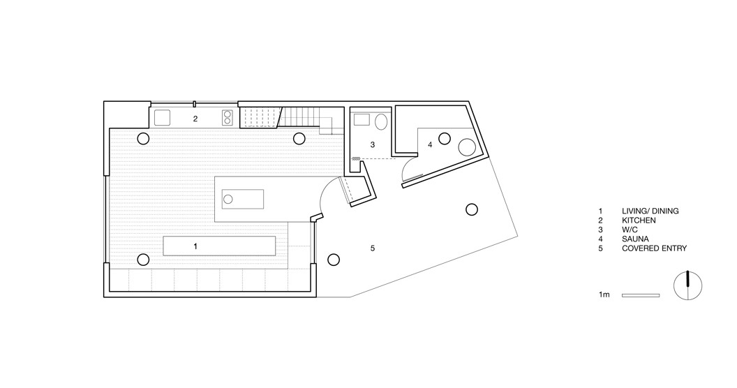 Ground level floor plan of Alpine Cabin in canada