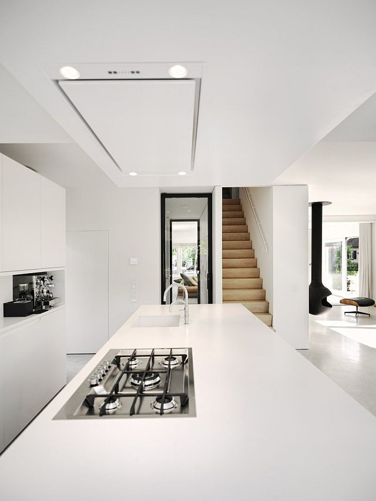 Kitchen in white of the modern home