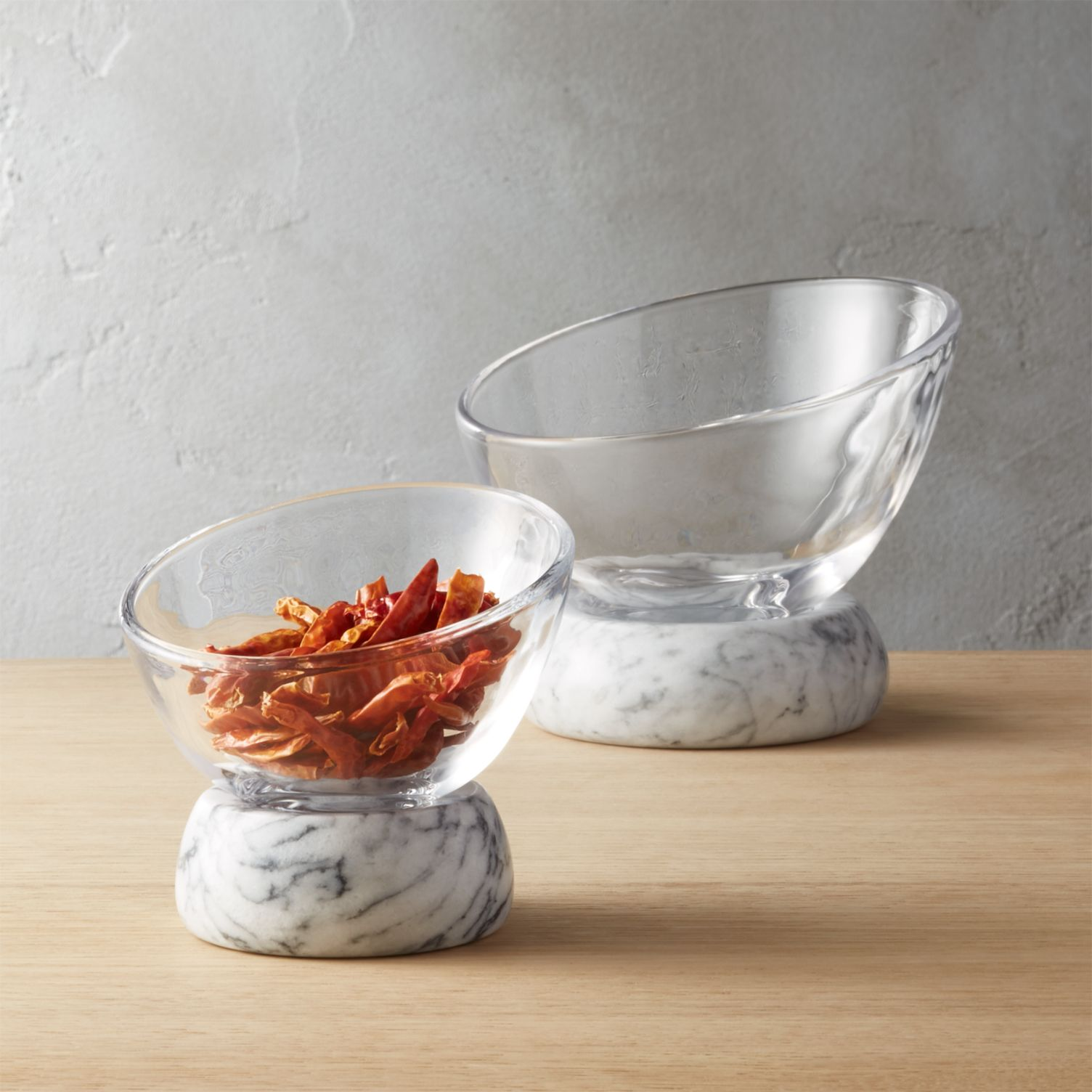 Marble and glass serving bowls from CB2