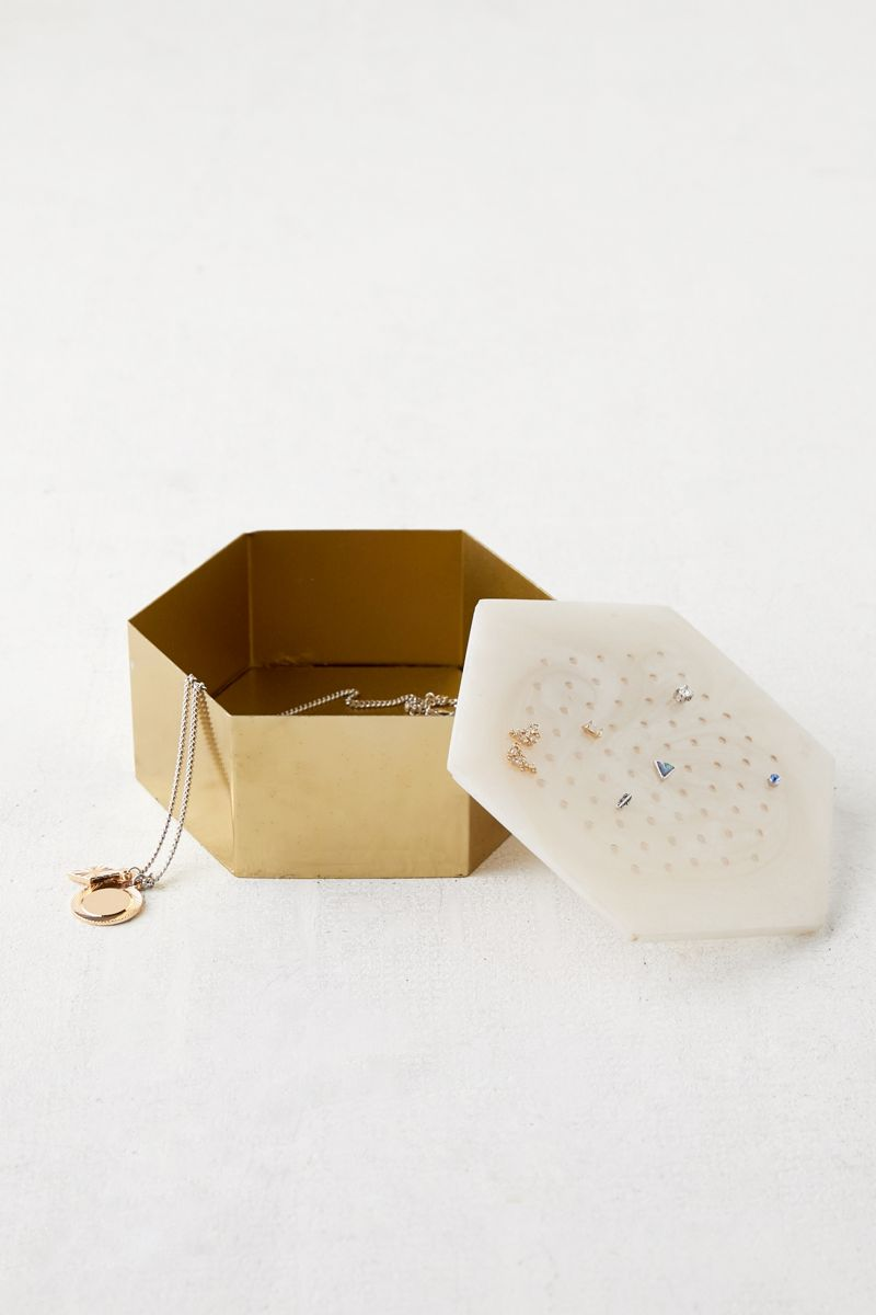 Metal and resin jewelry box