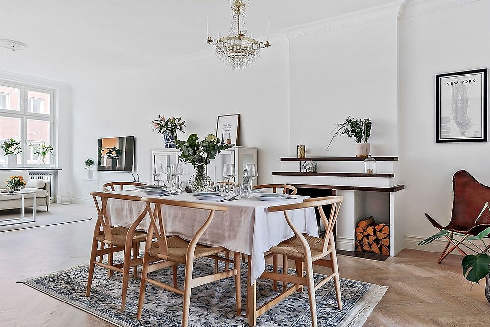 Simplicity of the wood and white dining room charms you with ease