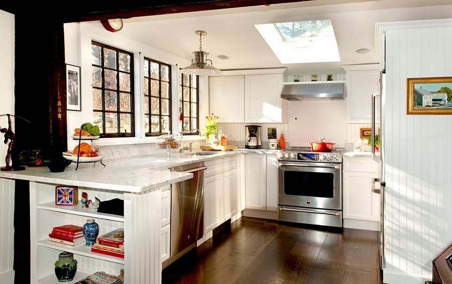 Skylight and windows bring brightness to the tiny kitchen
