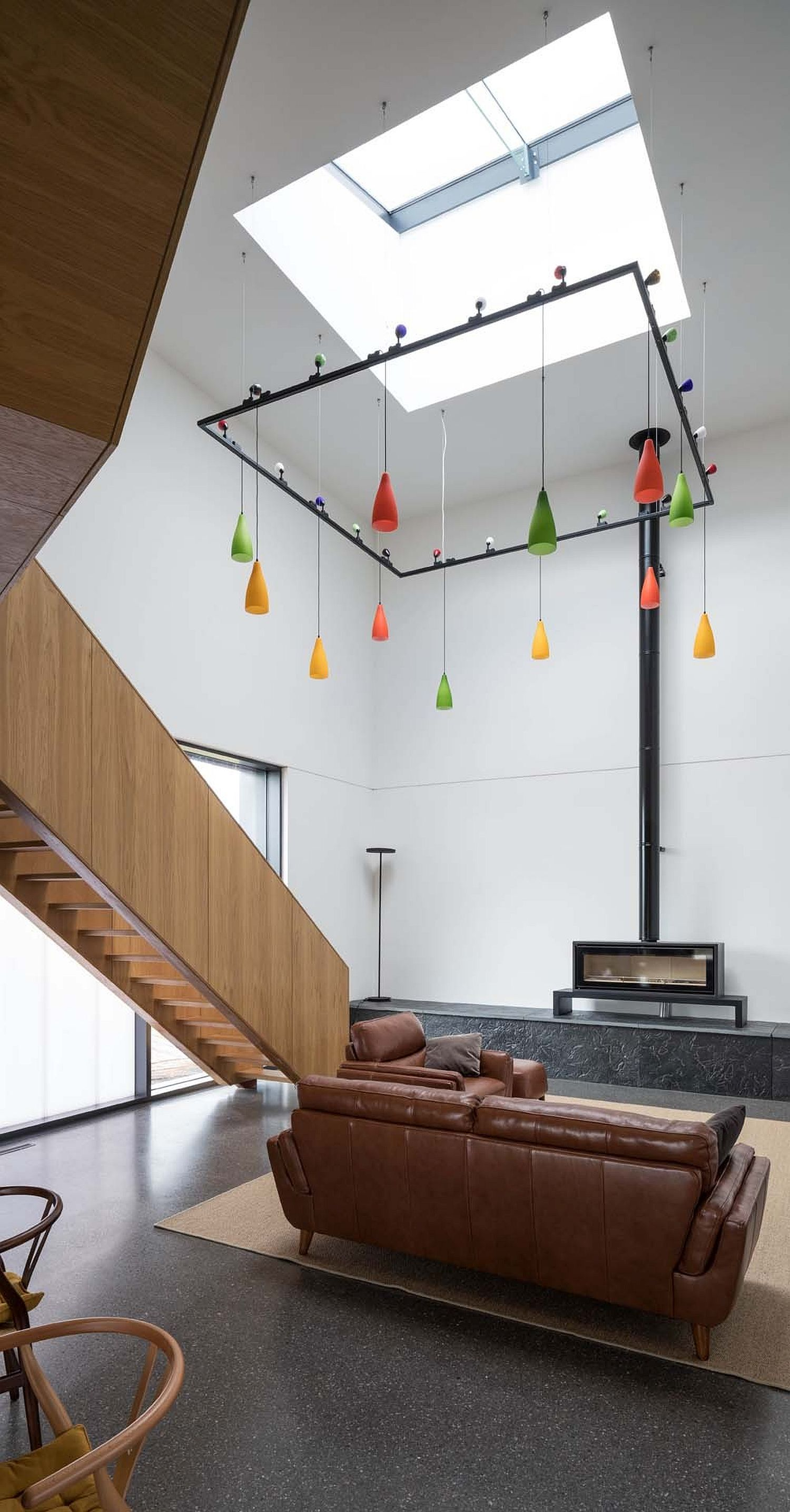 Skylights coupled with multi-colored pendants inside the house