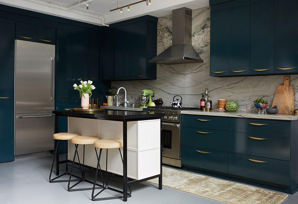 Small breakfast zone inside the stylish contemporary kitchen of LA home