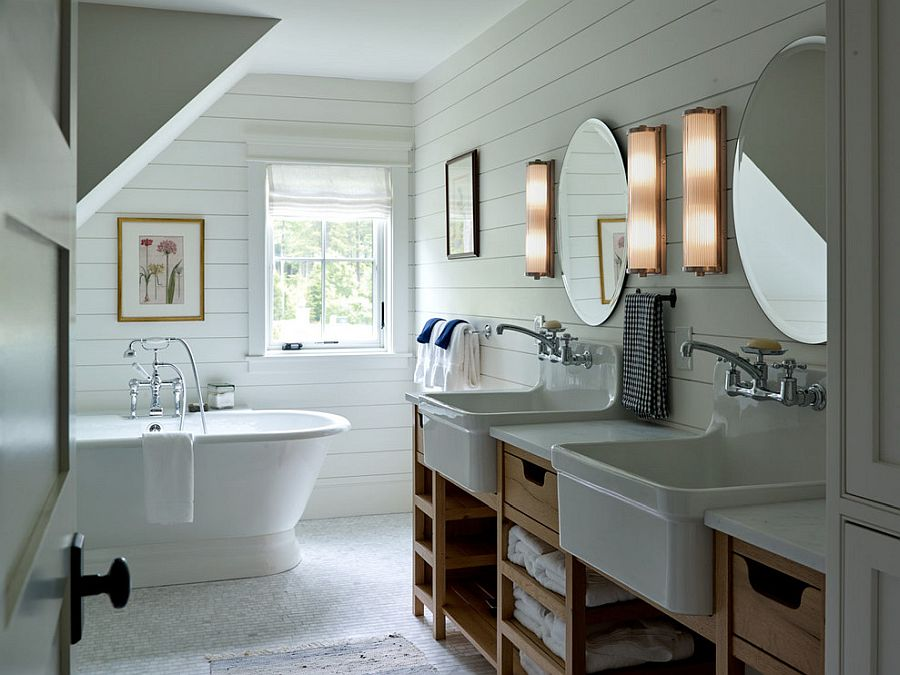 Small farmhouse bathroom in white with ample naural lighting