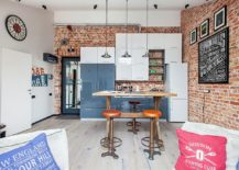 Small-modern-industrial-kitchen-with-brick-wall-backdrop-and-smart-pendants-217x155