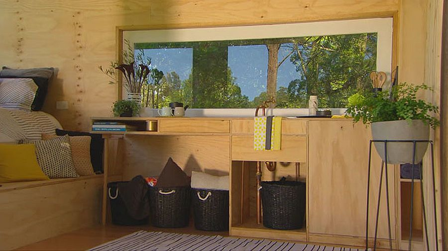Small storage space and cabinets inside the cabin