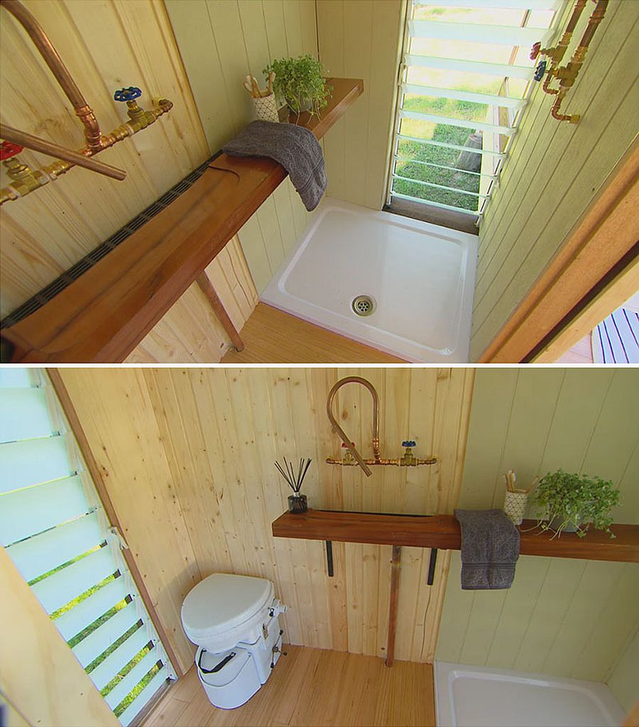 Toilet and bathroom inside the tiny cabin