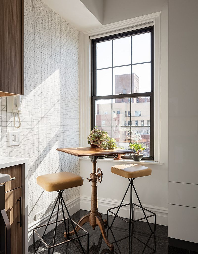 Turning the corner of the small New York kitchen into a lovely breakfast zone